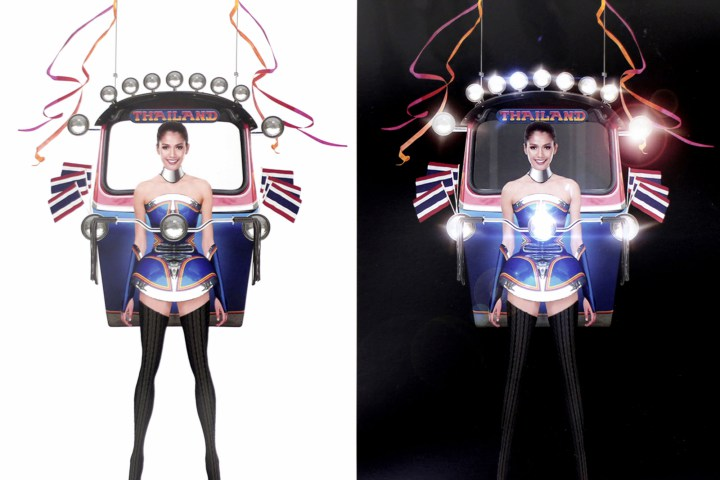 "This illustration released Wednesday, Oct. 7, 2015, by Miss Universe Thailand Organizer shows Miss Universe Thailand 2015 Aniporn Chalermburanawong wearing a dress that looks like a ""tuk-tuk,"" a three-wheeled motorized taxi. The ""Tuk Tuk Thailand"" dress will be worn by Aniporn in the costume round at the pageant in December in the United States. It was the winning design from 356 entries in a contest held by Miss Universe Thailand. (Miss Universe Thailand Organizer via AP)"